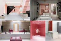 Pink interiors of buildings