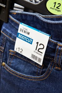 Clothing label for denim bootcut jeans
