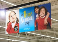 The 1 stop school shop overhead point of sale graphic
