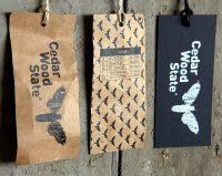 Cedar Wood State clothing tag
