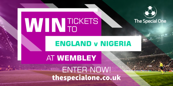 <p>2 tickets to the England v Nigeria World Cup warm-up match at Wembley Stadium on <strong>Saturday 2nd June 2018</strong>. Kick Off <strong>17.15</strong>.</p>
