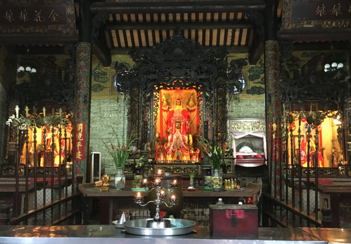Chua Ba Thien Hau Place - Even with the incense stick dust blowing, the place is super clean.. in Chua Ba Thien Hau, Ho Chi Minh