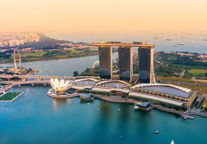 Marina Bay and Gardens by the bay in Marina Bay and Gardens by the bay, Singapore