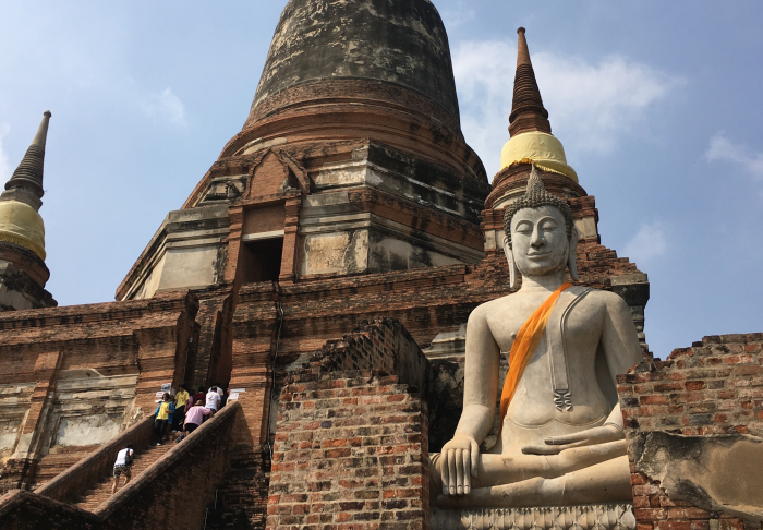 Going up on Ayutthaya in Ayutthaya Historical Park, Bangkok