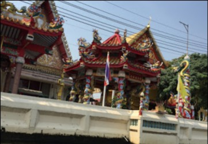 Khlongs by Boat - Colorful Temples in Khlongs by boat, Bangkok