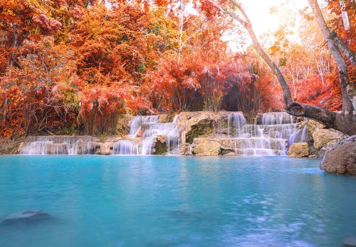 Kuang Si Waterfall in Kuang Si Waterfall, Luang Prabang
