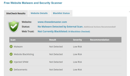 Sucuri website checker.