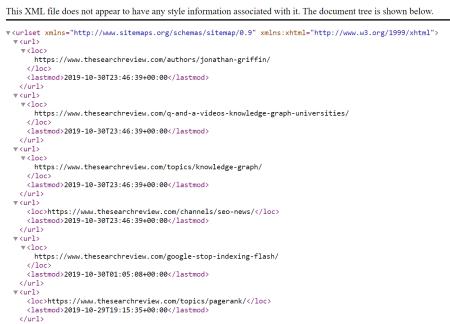 Example XML Sitemap.