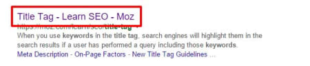 Keywords in title tag in search results.