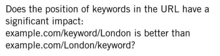 Matt Cutts answered a question whether the position of keywords in the URL have a significant impact