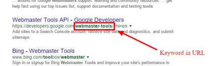How keywords look in the search results.