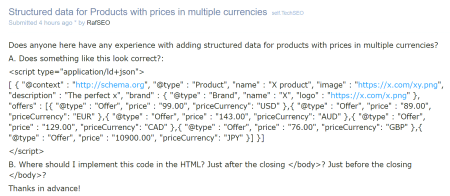 Product structured data with multiple currencies.