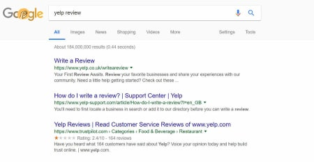 Trustpilot gives Yelp a rating of just 2.4 out of 10, indicating a possible trust issue.