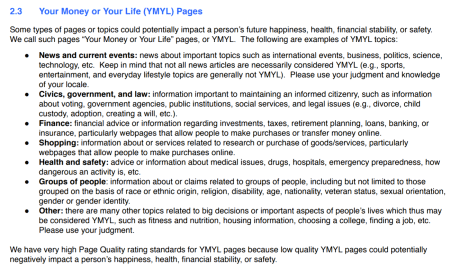 Examples of YMYL pages from the Quality Raters Guidelines.