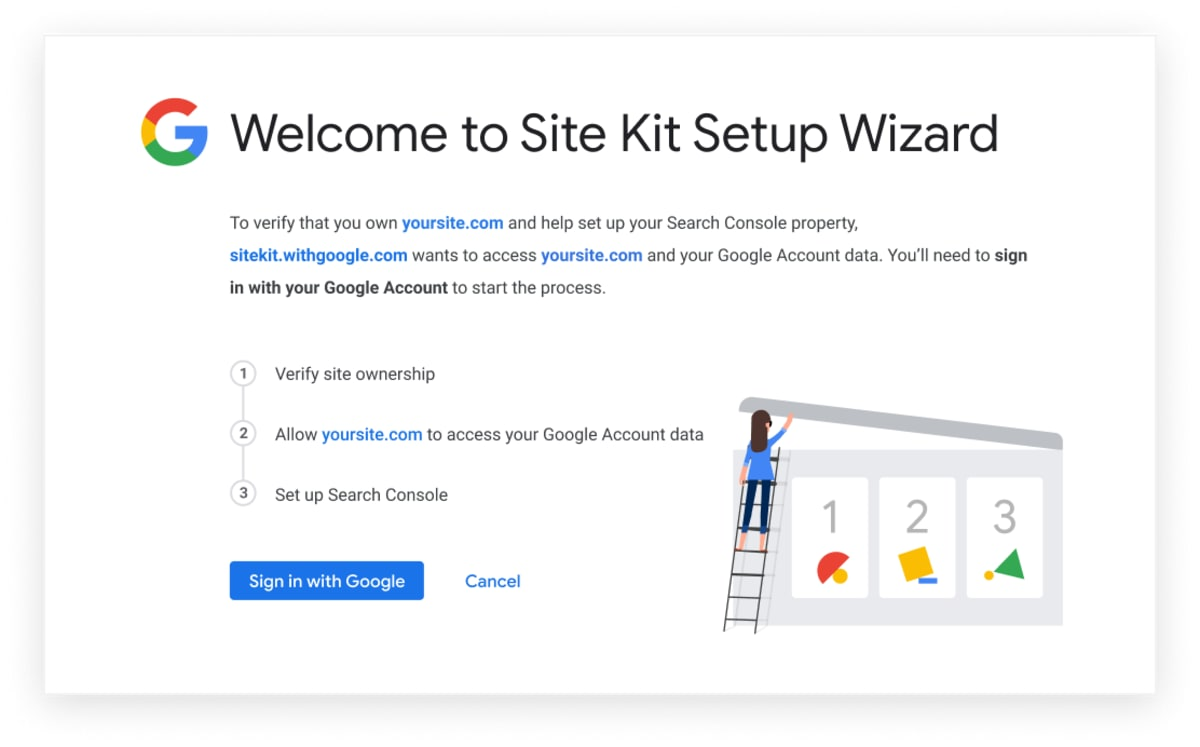 Site Kit setup wizard.