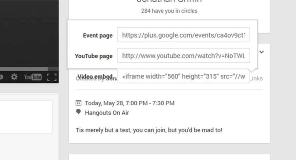 Google Hangout Links.