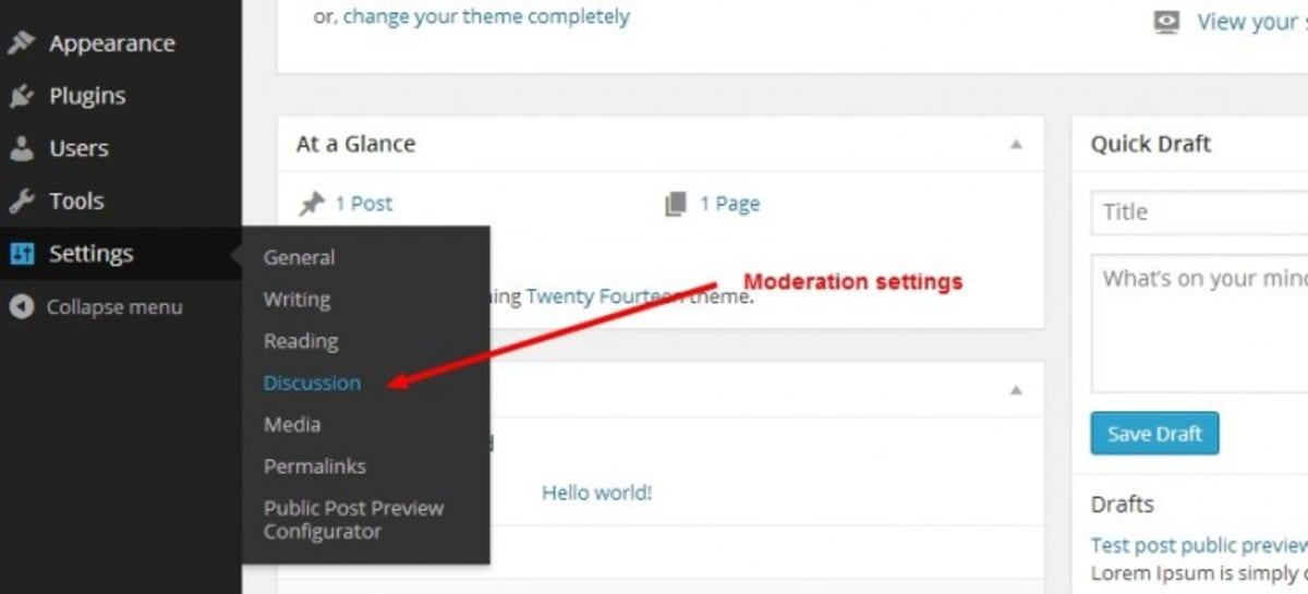 Wordpress discussion settings to reduce spam comments.