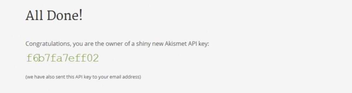 Akismet API key.