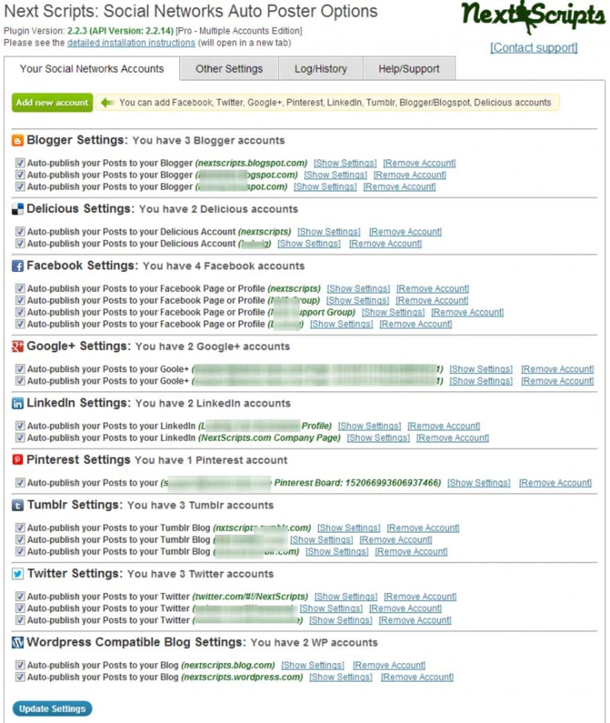 Social Networks Auto Poster Admin Panel