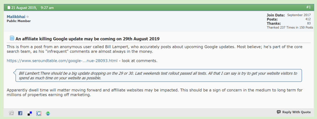 Google Update was predicted several weeks prior with dwell time targeted.