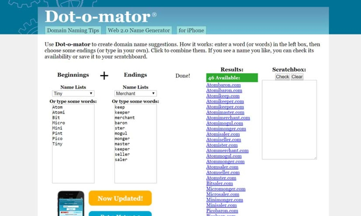 Dot-o-Mator Example Search for 'Craft'.
