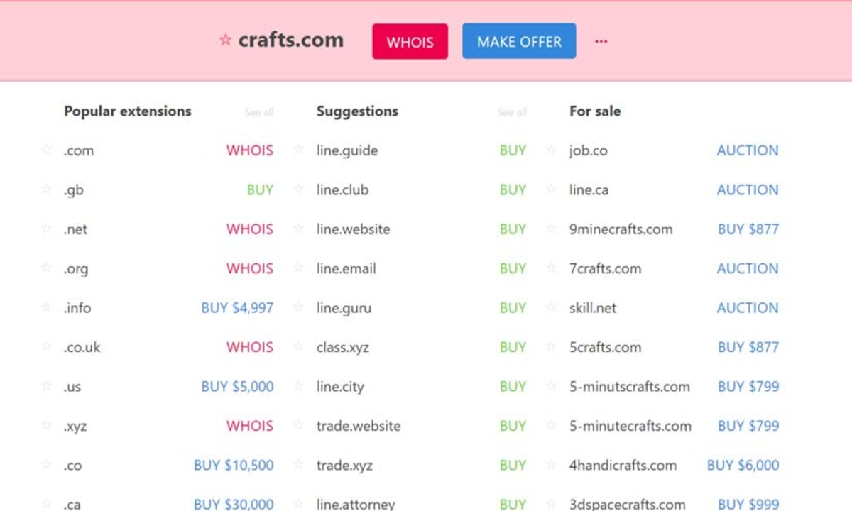 Instant Domain Search Example Search for 'Craft'.