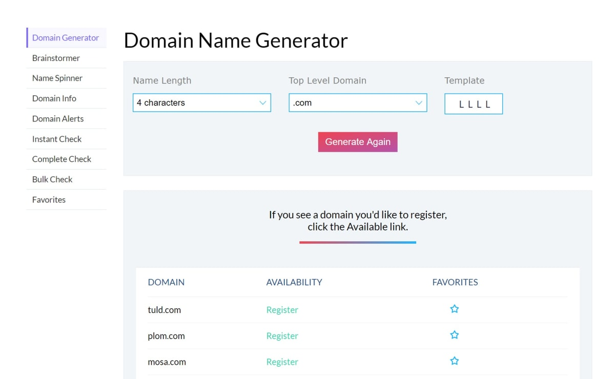 Domainhole Domain Generator.