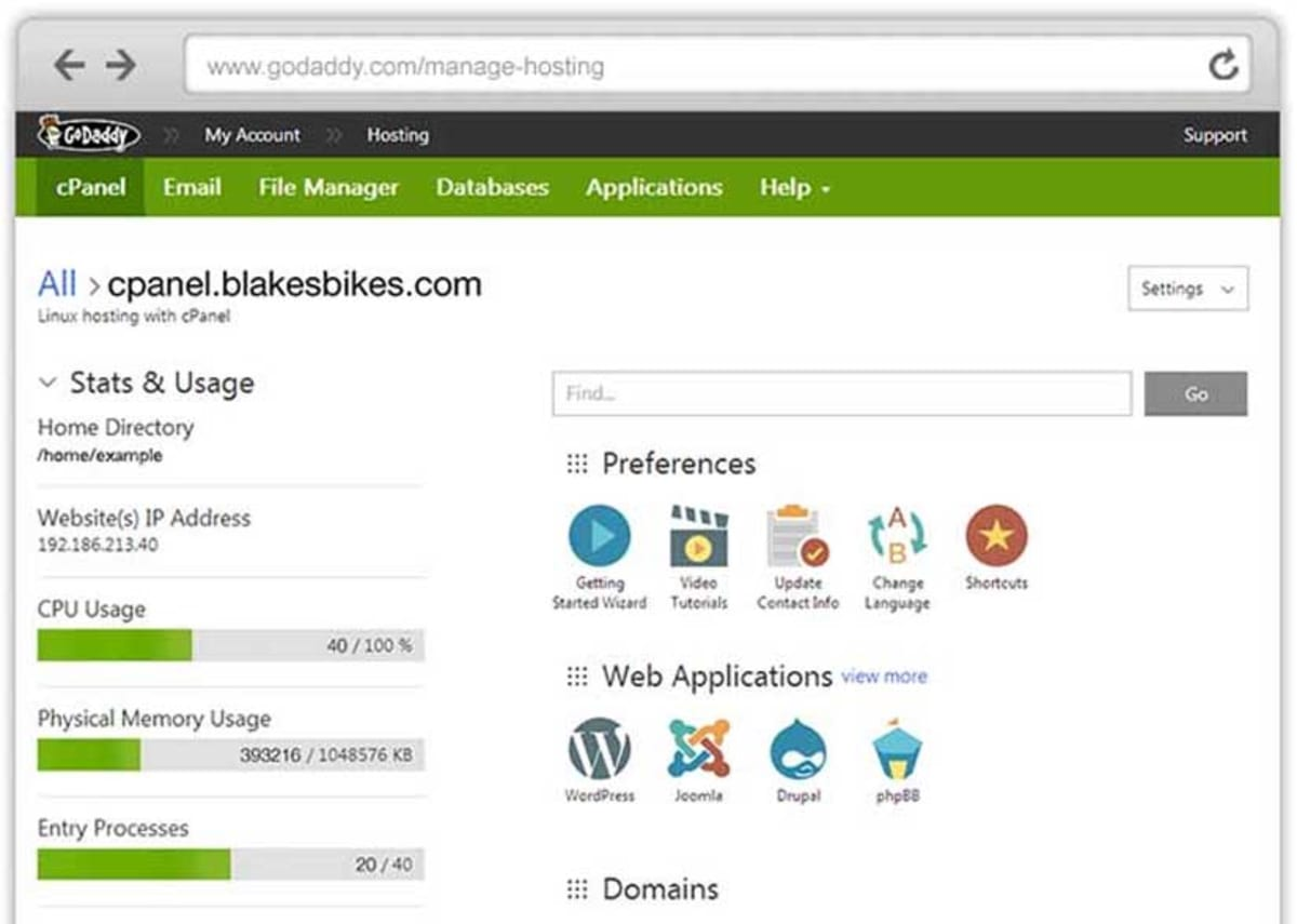 GoDaddy cPanel hosting interface..