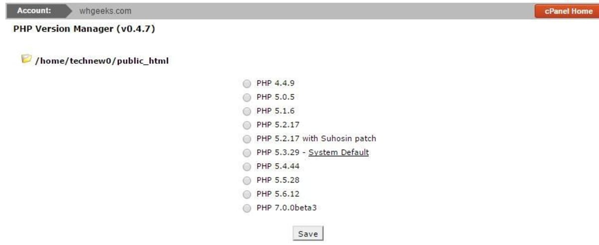 Select PHP 7.