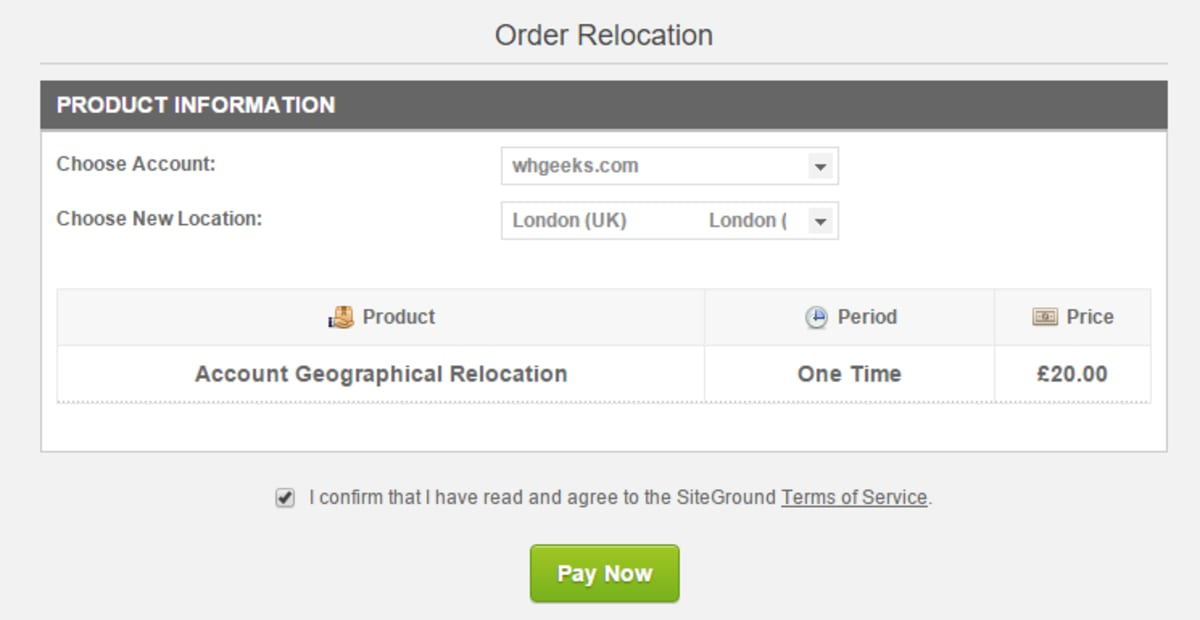 SiteGround Choose London data center.