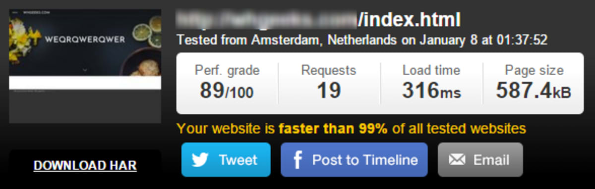 Speed test hosting Weebly at SiteGround.