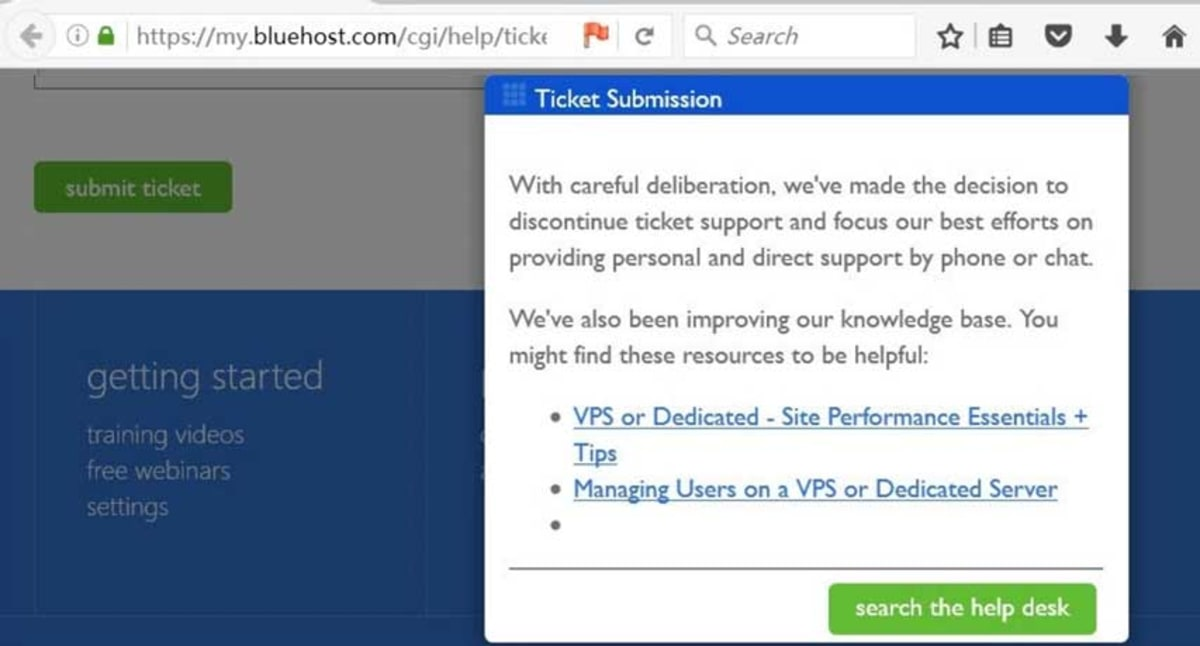 Bluehost ticket support ended.