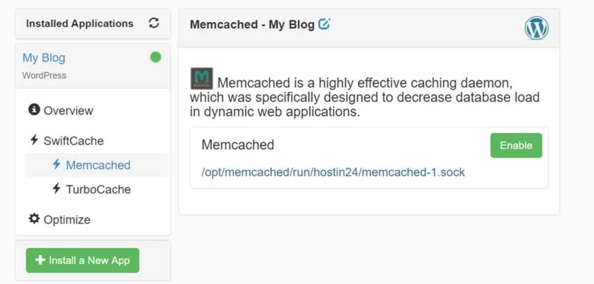 Enable memcached.