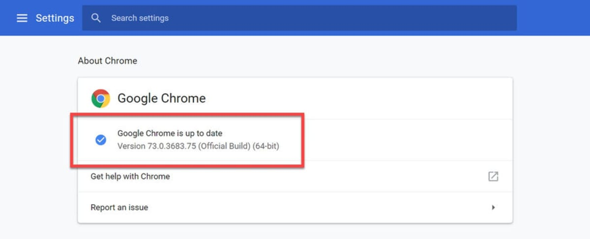 Check whether Google Chrome is up to date.