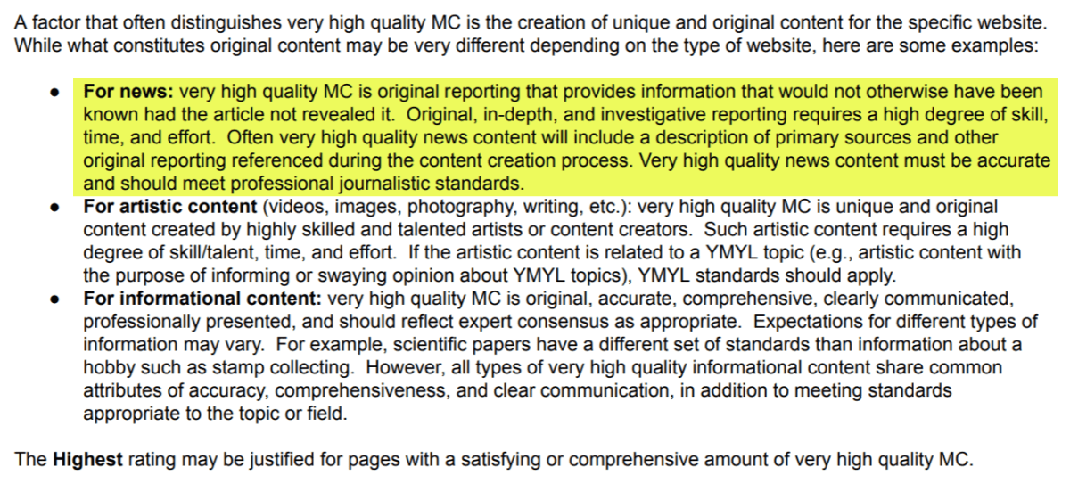 Quality Raters Guidelines - Focus on Original Content.