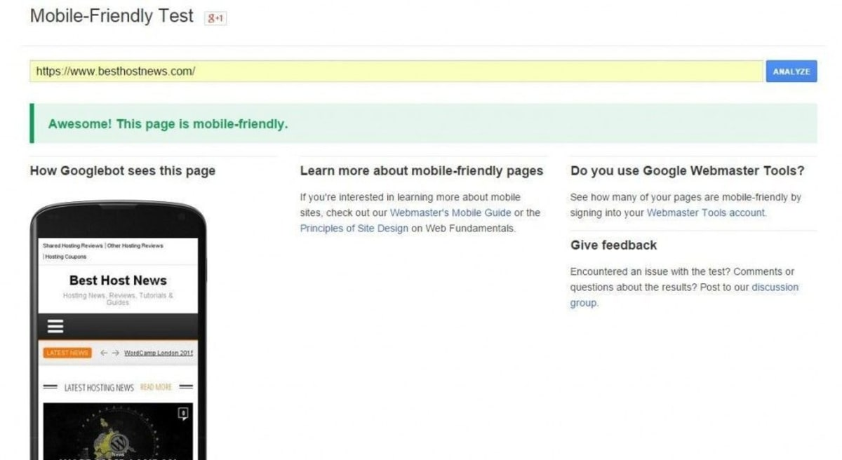 Google's mobile testing tool.