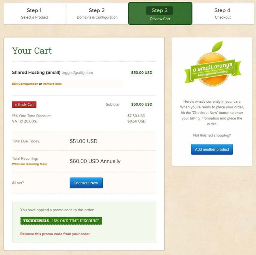 Review Cart & Enter your Coupon
