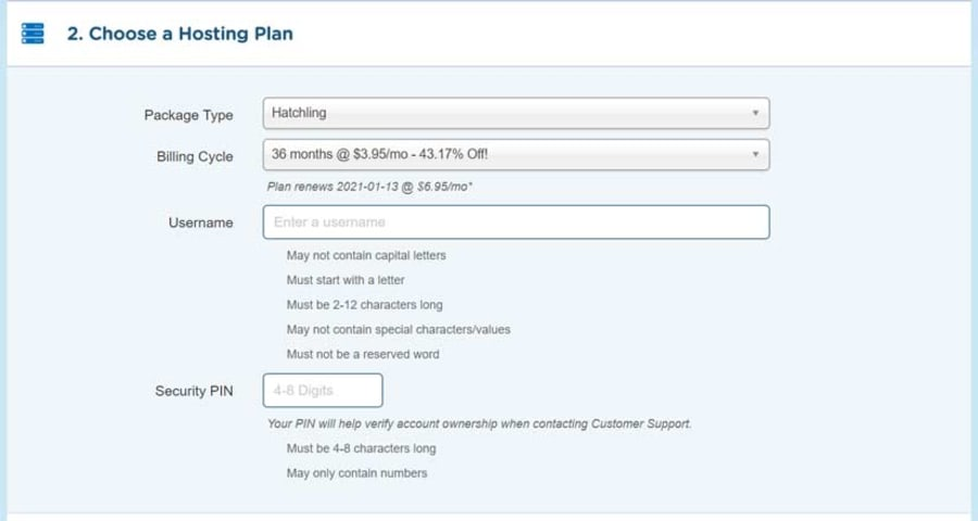 Choose a Hosting Plan, Billing Cycle, Username & Pin.