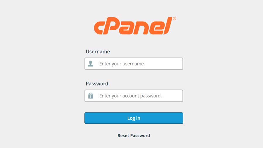 Type in your cPanel username and password