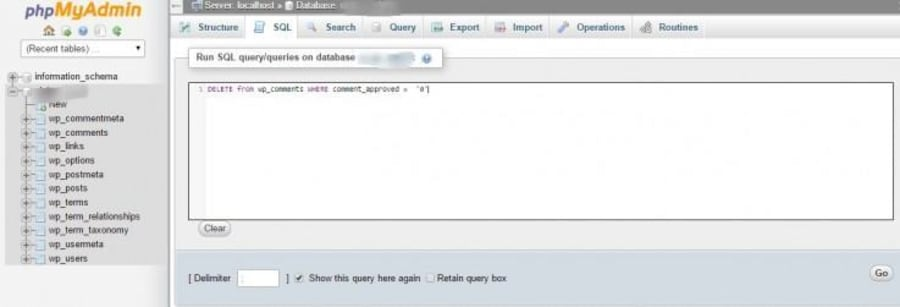 Click the SQL tab and run the following command.