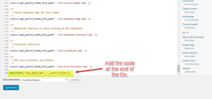 Add the following code to the bottom of the functions.php file