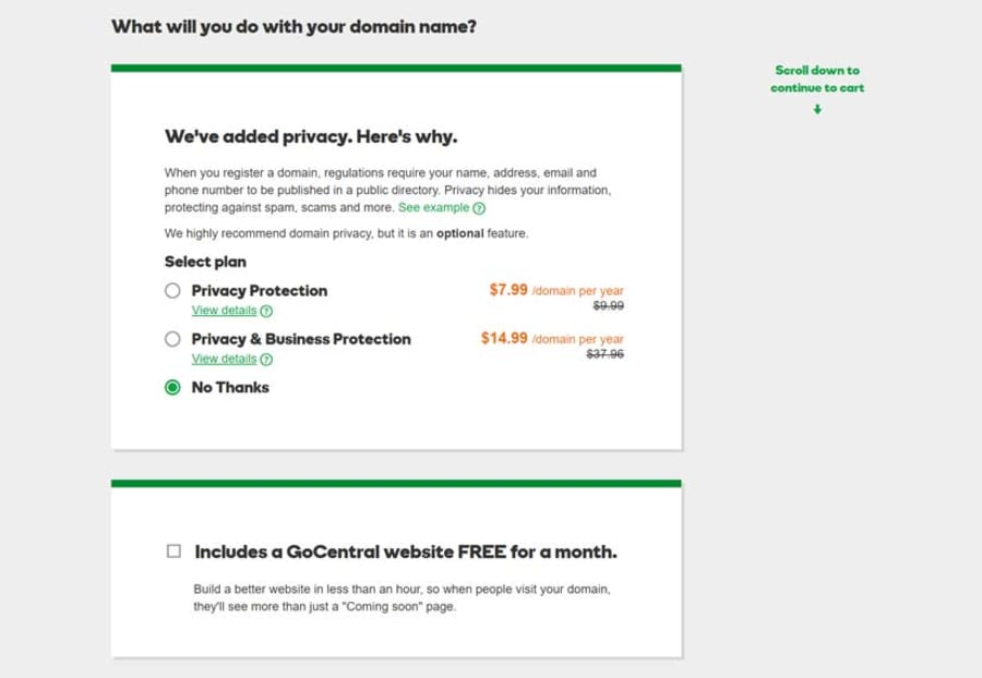 On the next screen, GoDaddy will try to up-sell various products and options. You'll probably want to deselect all of them.