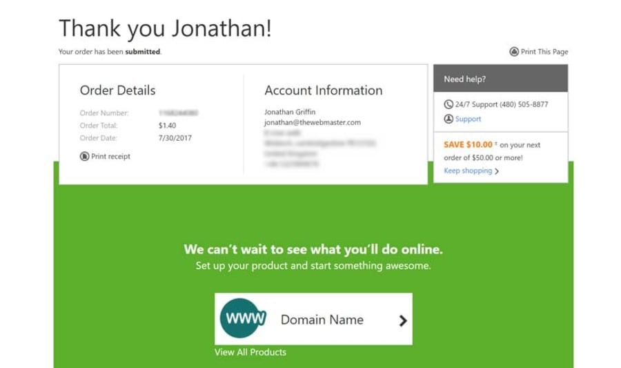 If you do not already have a GoDaddy account you will need to provide your billing and registrant details. You will then see a final confirmation screen.