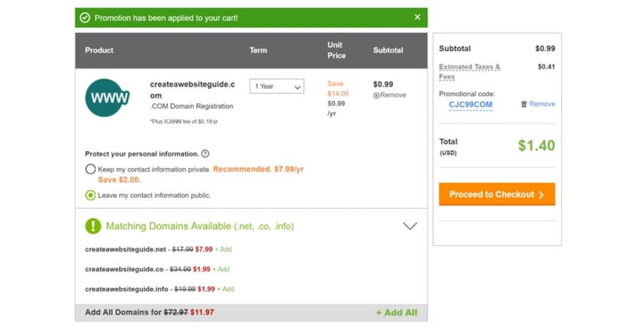 Select the domain registration term, check order and checkout.