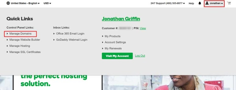 Log into your domain manager at GoDaddy.