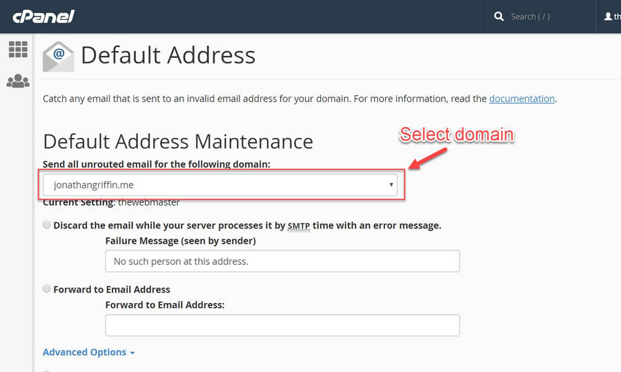 Select the domain on your cPanel account you wish to configure unrouted emails