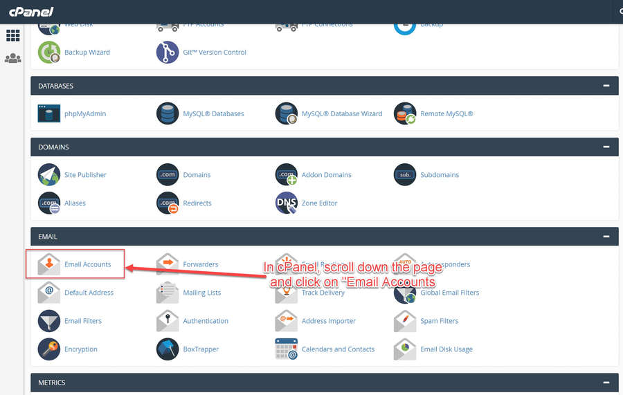 Click on the Email Accounts Icon in the cPanel Dashboard