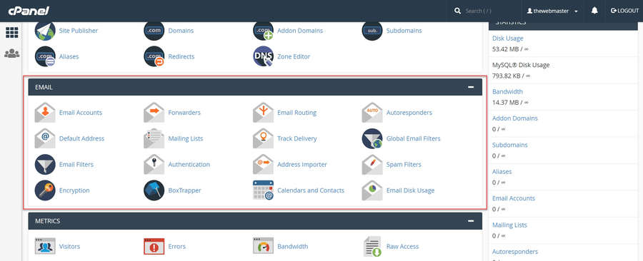 In the cPanel Dashboard scroll down to the 'Email' Section.