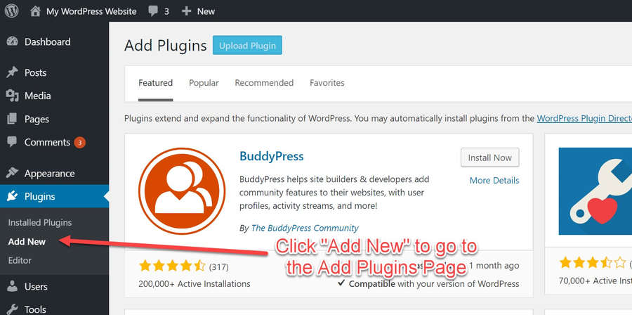 In WordPress click 'Add New' under the Plugins menu
