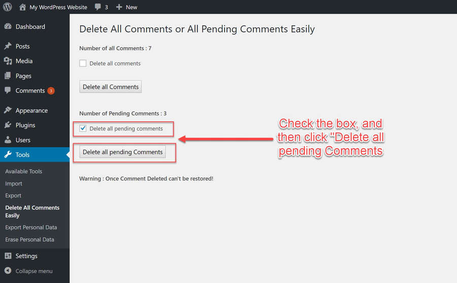 Delete all pending comments